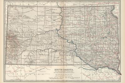 Plate 100. Map of South Dakota. United States-Encyclopaedia Britannica-Stretched Canvas Print