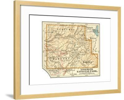 Map of Yosemite National Park (C. 1900), Maps-Encyclopaedia Britannica-Framed Giclee Print
