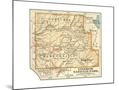 Map of Yosemite National Park (C. 1900), Maps-Encyclopaedia Britannica-Mounted Giclee Print