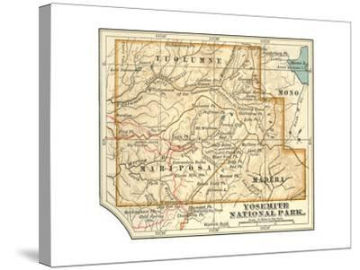 Map of Yosemite National Park (C. 1900), Maps-Encyclopaedia Britannica-Stretched Canvas Print