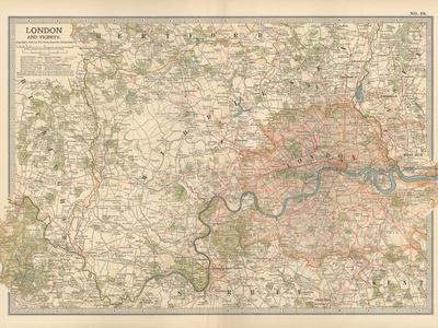 Plate 10. Map of London and Vicinity. England-Encyclopaedia Britannica-Stretched Canvas Print