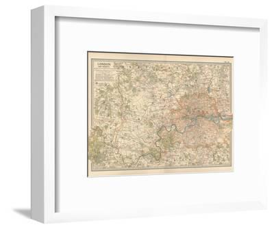Plate 10. Map of London and Vicinity. England-Encyclopaedia Britannica-Framed Giclee Print