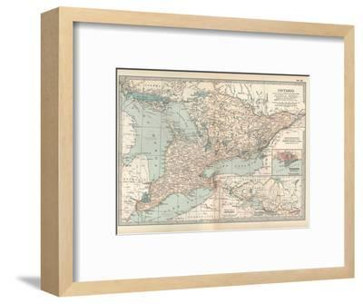 Map of Ontario, Canada. Insets of Toronto and Western Part of Ontario-Encyclopaedia Britannica-Framed Giclee Print