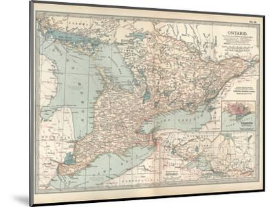Map of Ontario, Canada. Insets of Toronto and Western Part of Ontario-Encyclopaedia Britannica-Mounted Giclee Print