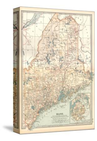 Map of Maine, United States. Inset of Mount Desert Island-Encyclopaedia Britannica-Stretched Canvas Print