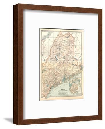 Map of Maine, United States. Inset of Mount Desert Island-Encyclopaedia Britannica-Framed Giclee Print