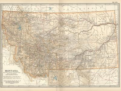 Plate 107. Map of Montana. United States-Encyclopaedia Britannica-Stretched Canvas Print
