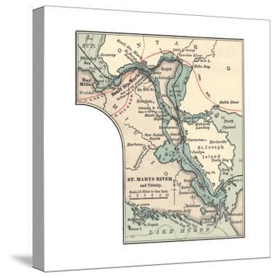 Inset Map of St. Marys River and Vicinity, with Sault Ste-Encyclopaedia Britannica-Stretched Canvas Print