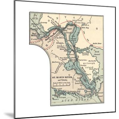 Inset Map of St. Marys River and Vicinity, with Sault Ste-Encyclopaedia Britannica-Mounted Giclee Print
