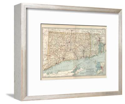 Plate 68. Map of Connecticut and Rhode Island-Encyclopaedia Britannica-Framed Giclee Print
