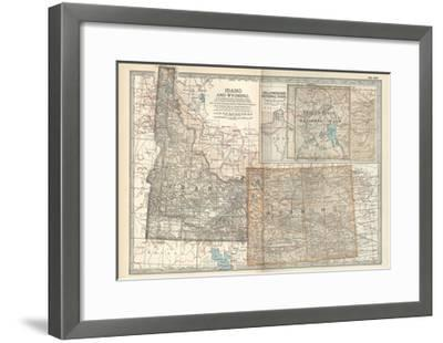 Map of Idaho and Wyoming. United States. Inset Map of Yellowstone National Park-Encyclopaedia Britannica-Framed Giclee Print