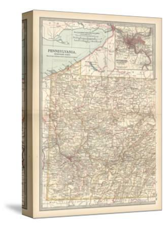 Plate 74. Map of Pennsylvania-Encyclopaedia Britannica-Stretched Canvas Print
