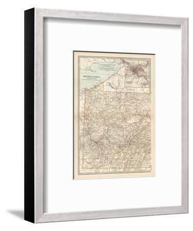 Plate 74. Map of Pennsylvania-Encyclopaedia Britannica-Framed Giclee Print
