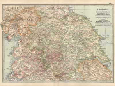 Plate 7. Map of England. Section II. Yorkshire-Encyclopaedia Britannica-Stretched Canvas Print