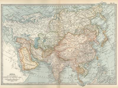 Map of Asia, with Special Reference to Siberia and Central Asia-Encyclopaedia Britannica-Stretched Canvas Print