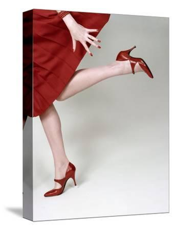 Vogue - February 1958 - Fleming-Joffe Red Heels-Richard Rutledge-Stretched Canvas Print