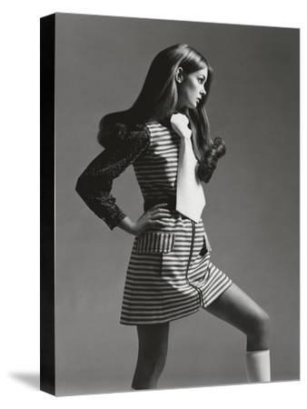 Vogue - March 1969 - Jean Shrimpton in Mini-Gianni Penati-Stretched Canvas Print