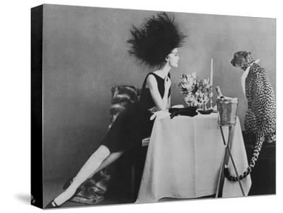 Vogue - November 1960 - Dining with a Cheetah-Leombruno-Bodi-Stretched Canvas Print