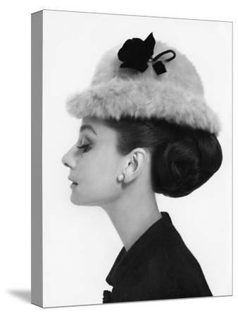 Vogue - August 1964 - Audrey Hepburn in Fur Hat-Cecil Beaton-Stretched Canvas Print