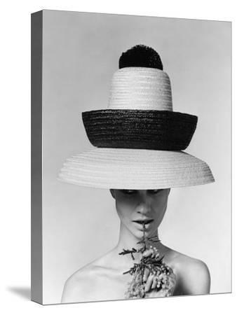 Vogue - June 1963 - Galitzine Hat-Karen Radkai-Stretched Canvas Print