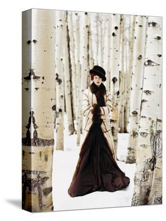 Vogue - October 1999 - Winter Among the Trees-Arthur Elgort-Stretched Canvas Print