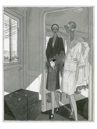 Vogue - June 1929-Jean Pag?s-Stretched Canvas Print