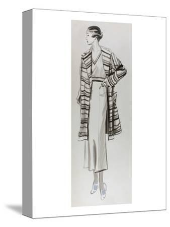 Vogue - June 1934 - Woman in Striped Coat-Lemon-Stretched Canvas Print