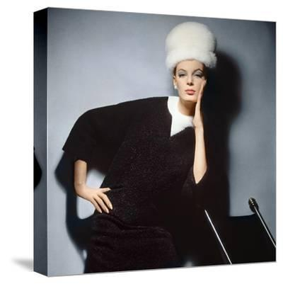 Model in Black Wool Bill Blass Dress with Neck of White Mink and Mink Hat--Stretched Canvas Print