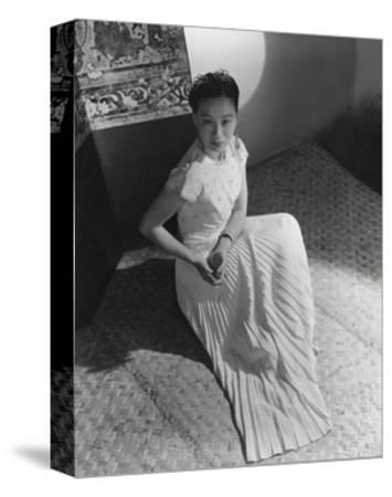 Miss Li Ling-Ai Wearing Pleated Short-Sleeved Evening Dress by Hattie Carnegie--Stretched Canvas Print