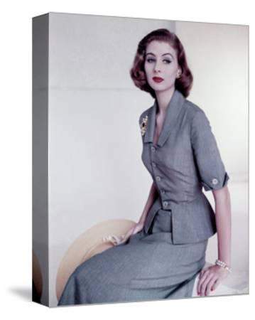 Model Wearing Italian Sky Blue Silk Suit--Stretched Canvas Print