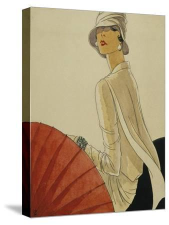 Vogue - January 1928 - Red Parasol-Porter Woodruff-Stretched Canvas Print