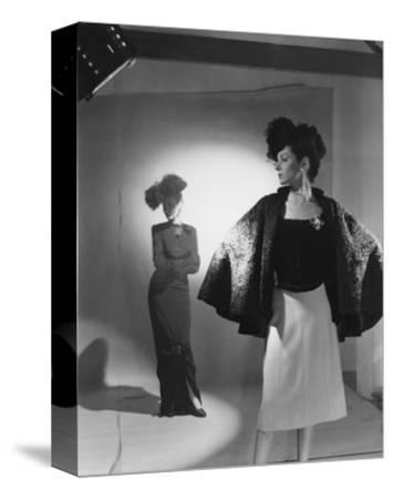 Vogue - October 1944 - Fashions from Bergdorf Goodman-Cecil Beaton-Stretched Canvas Print