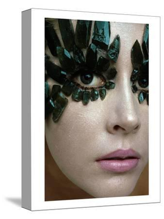 Vogue - January 1968 - Emerald-Encrusted Eyes-Gianni Penati-Stretched Canvas Print