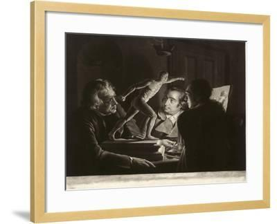 Three Persons Viewing the Gladiator by Candlelight, Engraved by William Pether, 1769-Joseph Wright of Derby-Framed Giclee Print