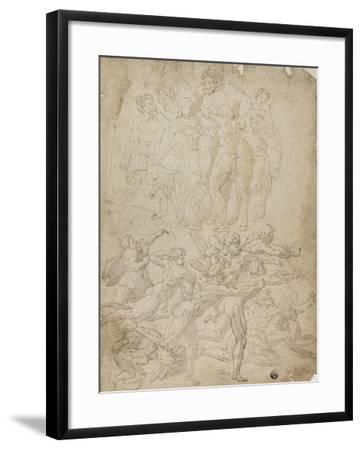 Archers Shooting at a Herm, Triumph of Bacchus, and Other Studies- Michelangelo & Perino del Vaga-Framed Giclee Print