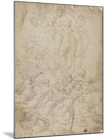 Archers Shooting at a Herm, Triumph of Bacchus, and Other Studies- Michelangelo & Perino del Vaga-Mounted Giclee Print