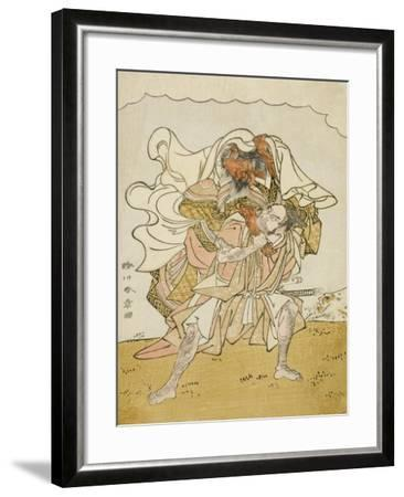 The Warrior Omori Hikoshichi Carrying a Female Demon on His Back, C.1772-Katsukawa Shunsho-Framed Giclee Print