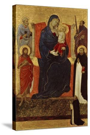 Virgin and Child Enthroned with Saints Peter, Paul, John the Baptist, Dominic and a Donor, 1325-35-Ugolino Di Nerio-Stretched Canvas Print