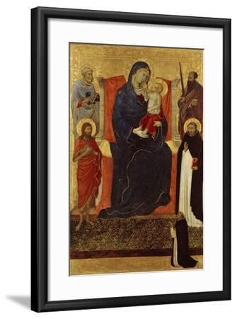 Virgin and Child Enthroned with Saints Peter, Paul, John the Baptist, Dominic and a Donor, 1325-35-Ugolino Di Nerio-Framed Giclee Print