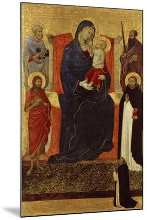 Virgin and Child Enthroned with Saints Peter, Paul, John the Baptist, Dominic and a Donor, 1325-35-Ugolino Di Nerio-Mounted Giclee Print