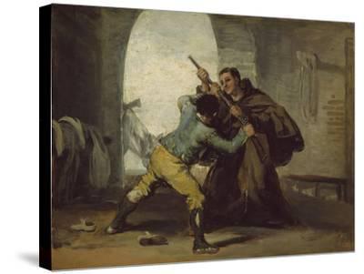 Friar Pedro Wrests the Gun from El Maragato, C.1806-Francisco de Goya-Stretched Canvas Print