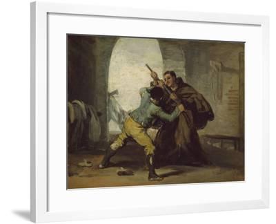 Friar Pedro Wrests the Gun from El Maragato, C.1806-Francisco de Goya-Framed Giclee Print