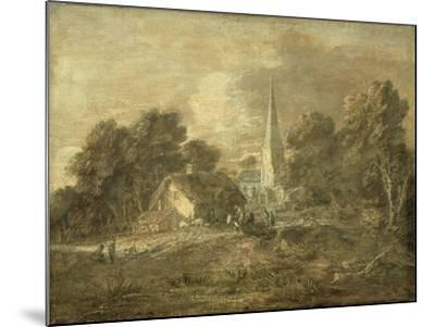Wooded Landscape with Village Scene, Early 1770-72-Thomas Gainsborough-Mounted Giclee Print