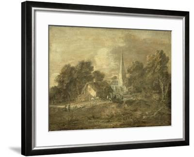 Wooded Landscape with Village Scene, Early 1770-72-Thomas Gainsborough-Framed Giclee Print