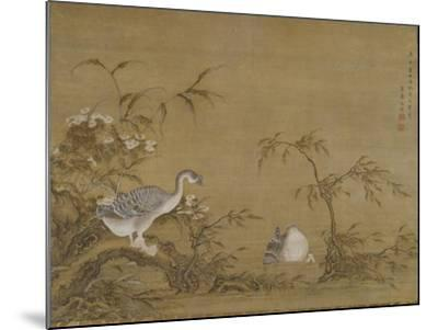 Geese on a Riverbank, Qing Dynasty (1644-1911), 1750- Shen Kai-Mounted Giclee Print