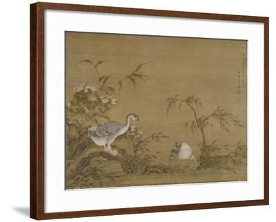Geese on a Riverbank, Qing Dynasty (1644-1911), 1750- Shen Kai-Framed Giclee Print