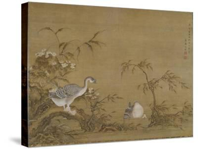 Geese on a Riverbank, Qing Dynasty (1644-1911), 1750- Shen Kai-Stretched Canvas Print