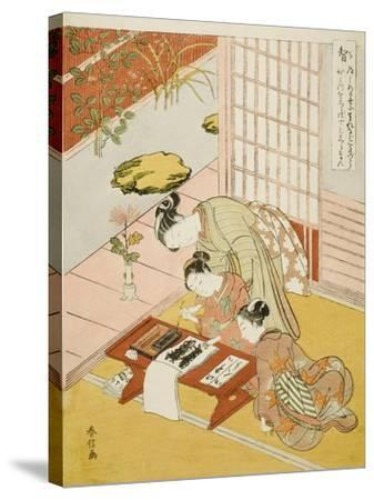 Knowledge (Chi), from the Series Five Cardinal Virtues, 1767-Suzuki Harunobu-Stretched Canvas Print