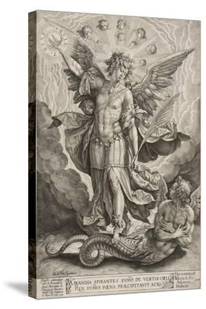 St Michael Triumphing over the Dragon, 1584-Hieronymus Wierix-Stretched Canvas Print