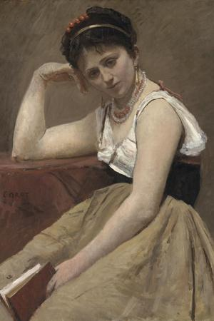 Interrupted Reading, C.1870-Jean-Baptiste-Camille Corot-Stretched Canvas Print